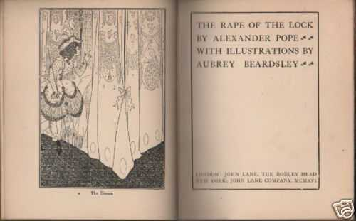 Beardsley, Antica Edizione, Illustrato Darte, The Rape Of The Lock, Pope, 1916 anteprima