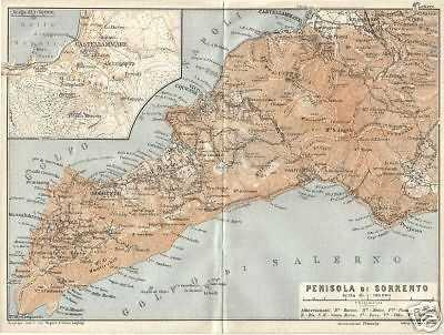 Cartina Geografica Antica.Campania Penisola Di Sorrento Antica Mappa Geografica